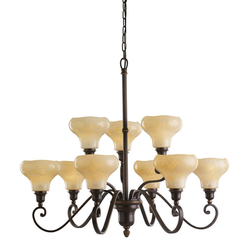 Kichler Lighting 1711OLZ Nine Light Elliston Collection Hanging Chandelier in Oiled Bronze Finish - Quality Discount Lighting