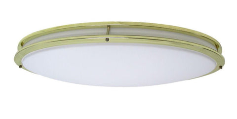 Oxygen Lighting 2-6112-2 Oracle Collection Two Light Energy Efficient Fluorescent Oval Flush Ceiling Fixture in Polished Brass Finish - Quality Discount Lighting