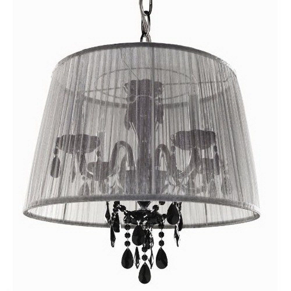 Trans Globe Lighting Els 2 Wh Bk Four Light White Shade And Black Crystal