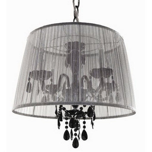 Trans Globe Lighting ELS-2 WH/BK Four Light White Shade and Black Crystal Chandelier - Quality Discount Lighting