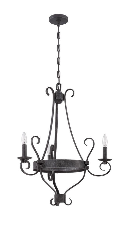 Craftmade Lighting 37923 CHL Ellsworth Collection Three Light Chandelier in Charcoal Finish