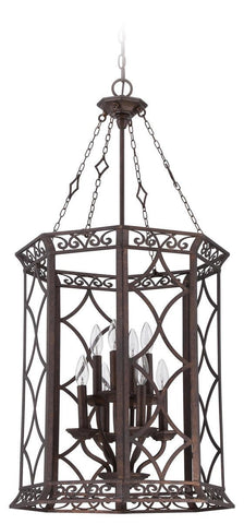 Craftmade Lighting 36438 PR Evangeline Collection Eight Light Pendant Chandelier in Peruvian Bronze Finish