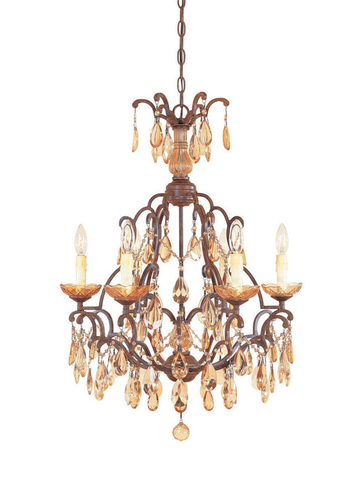 Designers Fountain Lighting 98386-VBR Bollo Collection Six Light Crystal Chandelier in Venetian Bronze Finish