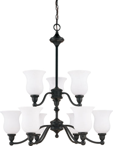 Nuvo Lighting 60-2428 Glenwood Collection Nine Light Energy Star Rated Fluorescent GU24 Hanging Chandelier in Sudbury Bronze Finish - Quality Discount Lighting