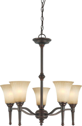 Nuvo Lighting 60-4246 Franklin Collection Five Light Hanging Chandelier in Georgetown Bronze Finish - Quality Discount Lighting
