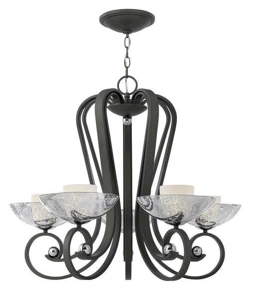 Hinkley Lighting Fredrick Ramond FR40605BKS Muse Collection Five Light Hanging Chandelier in Blacksmith Finish