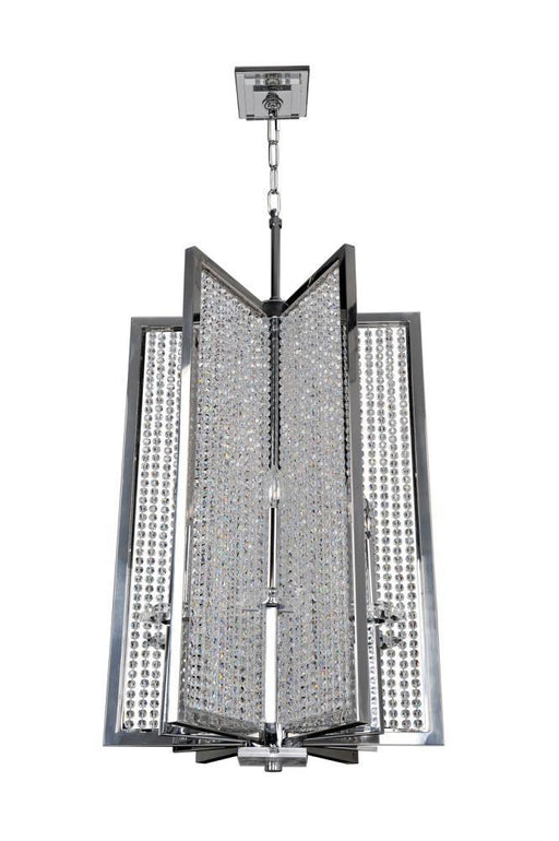 Kalco Lighting 10138-010-FR001 Rockefeller Collection Six Light Hanging Pendant Chandelier in Polished Chrome Finish