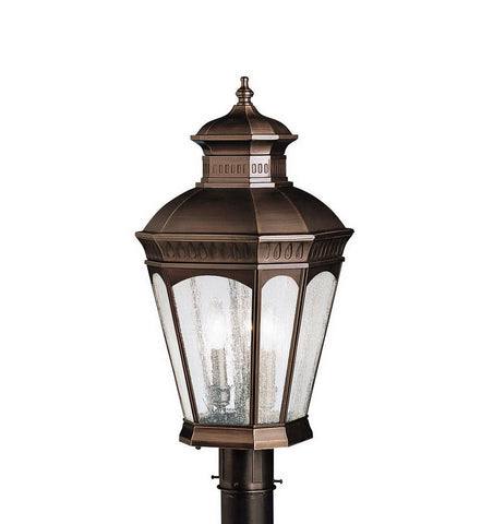 Aztec 39913 By Kichler Lighting Elgin Collection Three Light Outdoor Post Top Lantern in Burnished Bronze Finish - Quality Discount Lighting