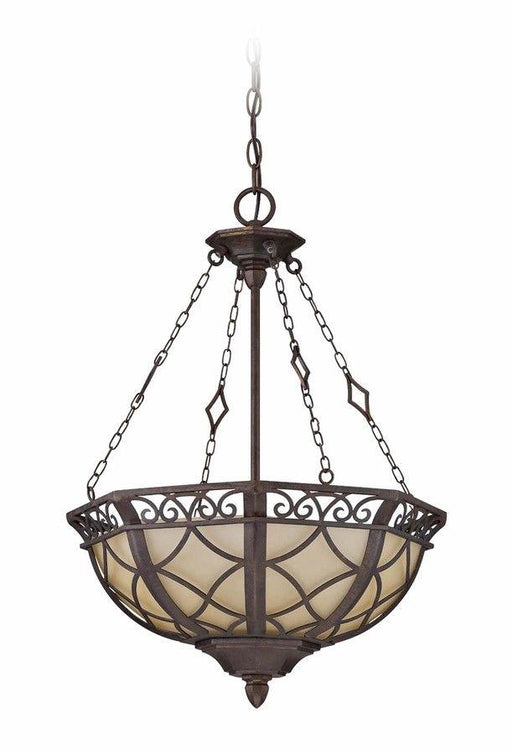 Craftmade Lighting 36443 PR Evangeline Collection Three Light Pendant Chandelier in Peruvian Bronze Finish