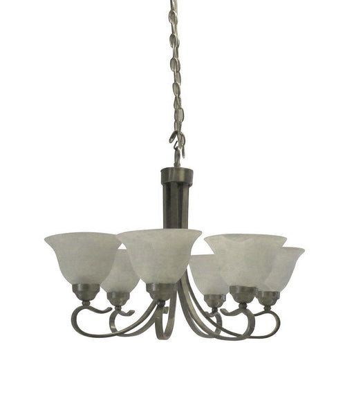 Rainbow EVER 2306 BN Six Light Hanging Chandelier in Brushed Nickel Finish
