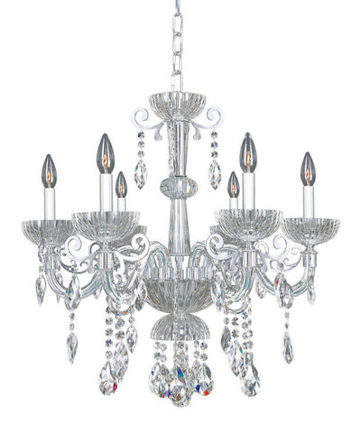 Kalco Lighting 022251-010-FR001 La Valle Collection Six Light Hanging Chandelier in Polished Chrome Finish