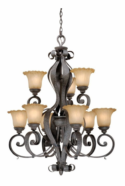 Vaxcel Lighting HB-CHU009 OI Hapsburg Collection Nine Light Hanging Chandelier in Olde Iron Finish - Quality Discount Lighting
