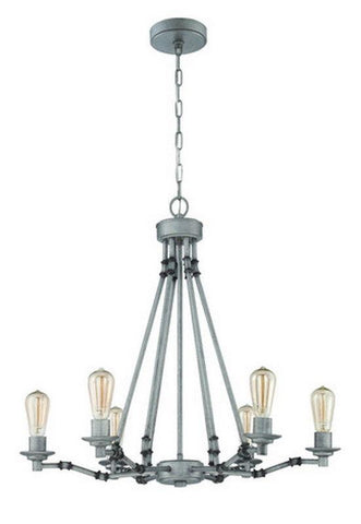 Craftmade Lighting 37826 AGV Hadley Collection Six Light Hanging Chandelier in Aged Galvanized Finish