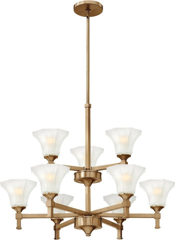 Hinkley Lighting 4048 BC Abbie Collection Nine Light Hanging Chandelier in Brushed Caramel Finish - Discount Lighting Fixtures