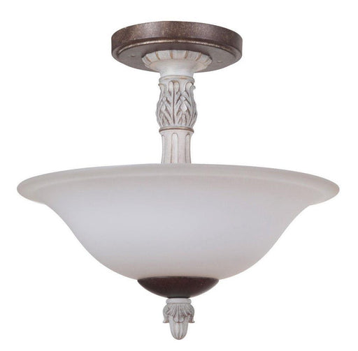 Craftmade Lighting 35252 AWBD Rosedale Collection Two Light Semi Flush Ceiling Mount in Antique White with Bronze Distressed Finish