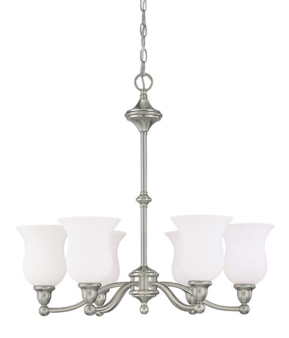 Nuvo Lighting 60-2557 Glenwood Collection Six Light Hanging Energy Efficient Fluorescent Hanging Chandelier in Brushed Nickel Finish - Quality Discount Lighting