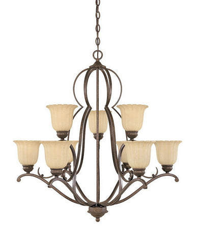 Designers Fountain Lighting 82689 FSN Radford Collection Nine Light Hanging Chandelier in Forged Sienna Finish - Quality Discount Lighting