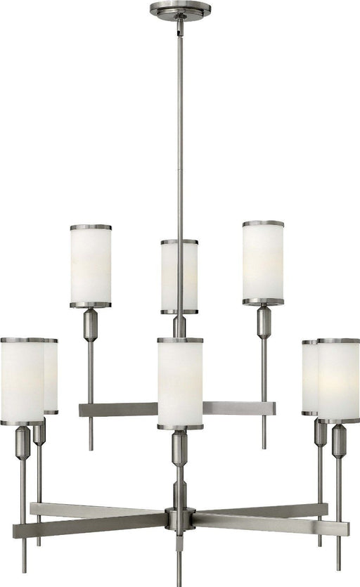 Hinkley Lighting 4078 BN Princeton Collection Nine Light Hanging Pendant Chandelier in Brushed Nickel Finish - Discount Lighting Fixtures
