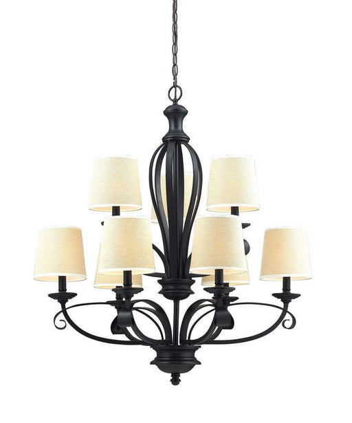 Z-Lite Lighting 2001-9 Charleston Collection Nine Light Chandelier in Matte Black Finish