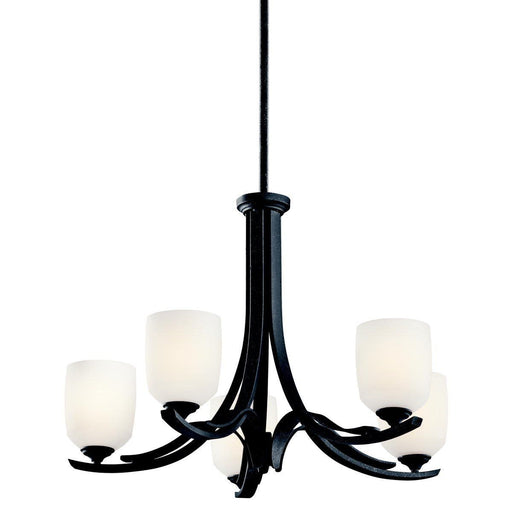 Aztec 34962 by Kichler Lighting Breton Mills Collection Five Light Hanging Mini Chandelier in Distressed Black Finish - Quality Discount Lighting