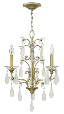 Hinkley Lighting Fredrick Ramond FR40313 SLF Francesca Collection Three Light Hanging Chandelier in Silver Leaf Finish - Quality Discount Lighting