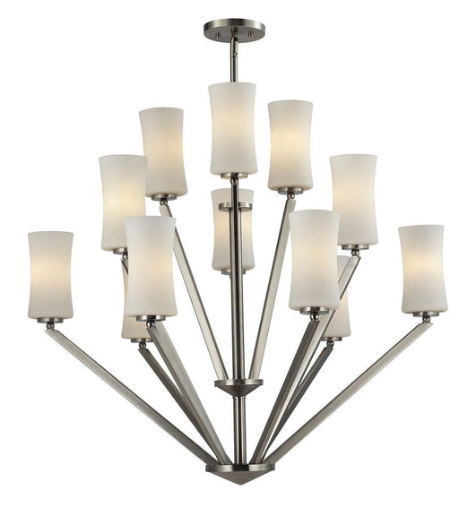 Z-Lite Lighting 609-12-BN Elite Collection Twelve Light Hanging Chandelier in Brushed Nickel Finish