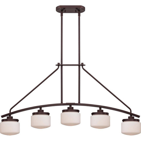 Nuvo Lighting 60-5124 Austin Collection Five Light Hanging Island Pendant Chandelier in Russet Bronze Finish - Quality Discount Lighting