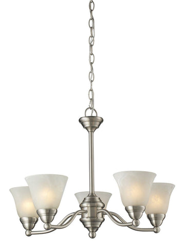 Z-Lite Lighting 2110-5 Athena Collection Five Light Hanging Chandelier in Brushed Nickel Finish