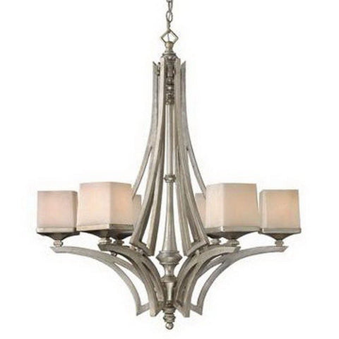 Hinkley Lighting Fredrick Ramond FR49196 SLF San Simeon Collection Six Light Hanging Chandelier in Silver Leaf Finish - Quality Discount Lighting