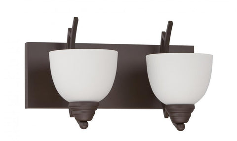 Sunset Lighting F15092-47 Chester Collection Two Light Bath Vanity Wall Fixture in Rustico Bronze Finish - Quality Discount Lighting