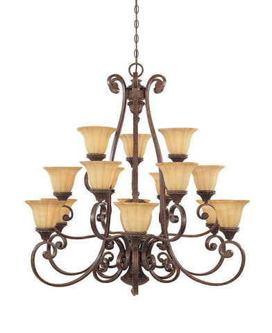 Designers Fountain Lighting 987815 BU Astor Manor Collection Fifteen Plus One Light Hanging Chandelier in Burnt Umber Finish - Quality Discount Lighting