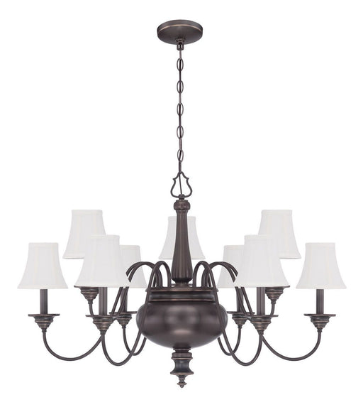 Craftmade Lighting 39629 LB Beaumont Collection Nine Light Hanging Chandelier in Legacy Brass Bronze Finish