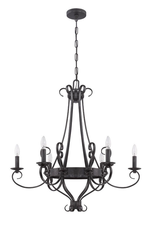 Craftmade Lighting 37926 CHL Ellsworth Collection Six Light Chandelier in Charcoal Finish