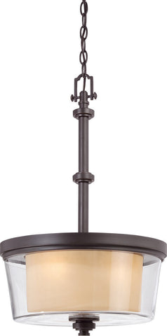 Nuvo Lighting 60-4546 Decker Collection Three Light Hanging Pendant Chandelier in Sudbury Bronze Finish - Quality Discount Lighting