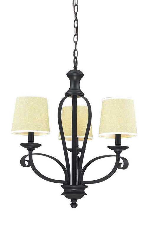 Z-Lite Lighting 2001-3 Charleston Collection Three Light Chandelier in Matte Black Finish