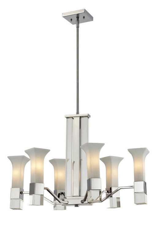 Z-Lite Lighting 611-6-CH Lotus Collection Six Light Hanging Chandelier in Polished Chrome Finish