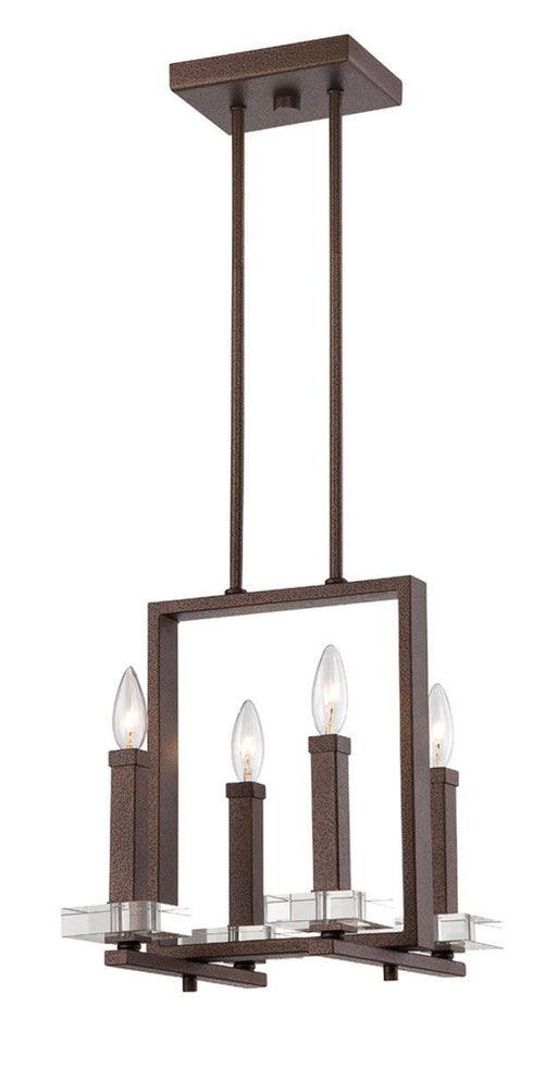 Designers Fountain Lighting 84384-FBZ Fieldhouse Collection Four Light Hanging Pendant Chandelier in Flemish Bronze Finish