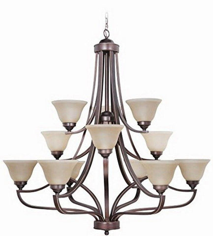 Craftmade Lighting 9845MB12 Portia Collection Twelve Light Hanging Chandelier in Metropolitan Bronze Finish