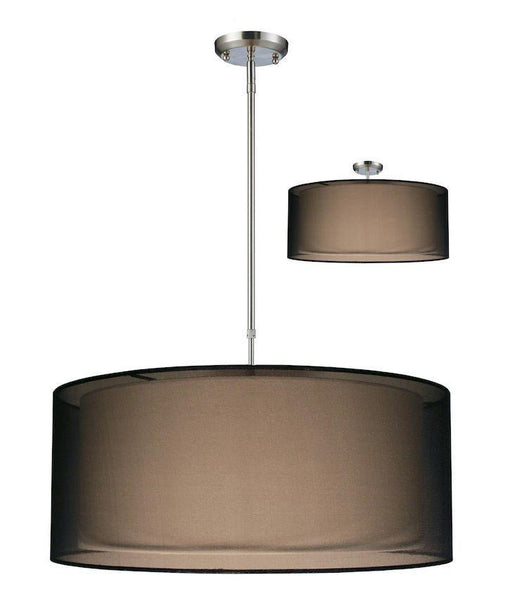 Z-Lite Lighting 144-24BK-C Nikko Collection Three Light Large Pendant Chandelier or Semi Flush Ceiling Mount in Brushed Nickel Finish