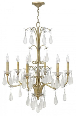 Hinkley Lighting Fredrick Ramond FR40316 SLF Francesca Collection Six Light Hanging Chandelier in Silver Leaf Finish - Quality Discount Lighting