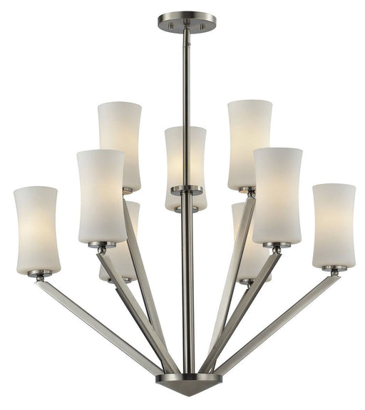 Z-Lite Lighting 609-3+6-BN Elite Collection Nine Light Hanging Chandelier in Brushed Nickel Finish
