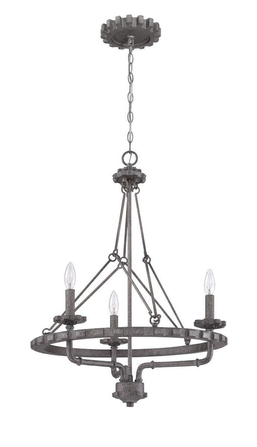 Craftmade Lighting 38633 AGV Prime Collection Three Light Hanging Chandelier in Aged Galvanized Finish