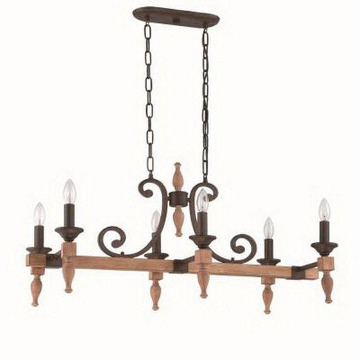 Craftmade Lighting 38176 JBZDO Glenwood Collection Six Light Hanging Linear Chandelier in Light Aged Bronze and Distressed Oak Finish