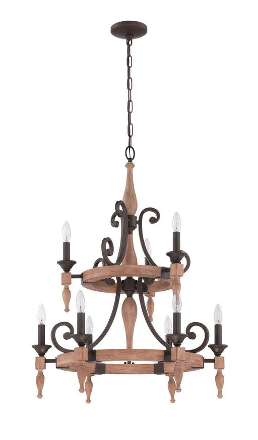 Craftmade Lighting 38129 JBZDO Glenwood Collection Nine Light Hanging Chandelier in Light Aged Bronze and Distressed Oak Finish