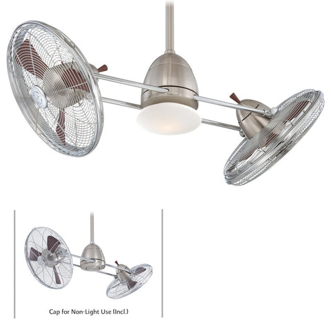 Minka Aire SPECIAL ORDER F602 BN/CH Gyro Ceiling Fan in Brushed Nickel and Chrome Finish - Quality Discount Lighting