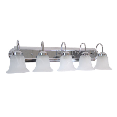 Epiphany Lighting 106051 CH-105252 Five Light Bath Wall Light in Polished Chrome Finish and Alabaster Glass - Quality Discount Lighting