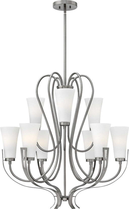 Hinkley Lighting 4228 BN Channing Collection Nine Light Hanging Chandelier in Brushed Nickel Finish - Discount Lighting Fixtures