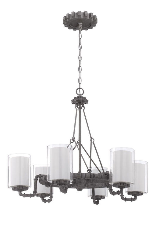 Craftmade Lighting 38626 AGV Prime Collection Six Light Hanging Chandelier in Aged Galvanized Finish