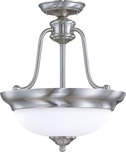 Nuvo Lighting 60-1807 Glenwood Collection Three Light Semi Flush Ceiling Mount in Brushed Nickel Finish