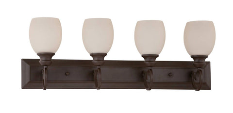 Sunset Lighting F13074-47 Abney Collection Four Light Bath Vanity Wall Fixture in Rustico Bronze Finish - Quality Discount Lighting